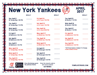 April 2017 New York Yankees Printable Schedule