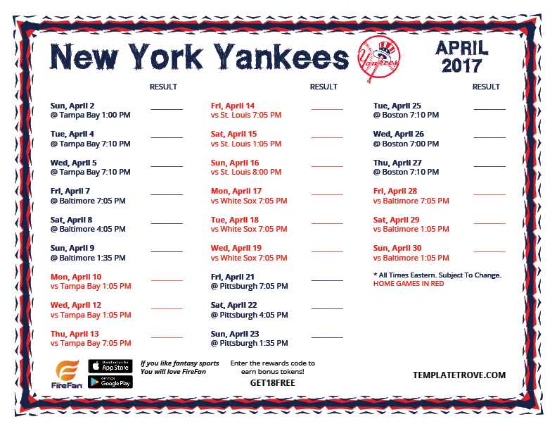 It is an image of Zany Yankees 2020 Printable Schedule