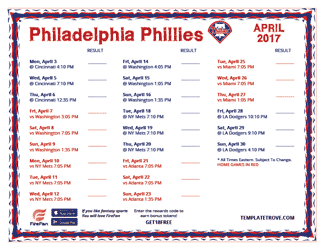 April 2017 Philadelphia Phillies Printable Schedule
