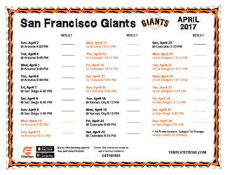 April 2017 San Francisco Giants Printable Schedule