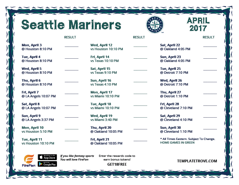 picture regarding Mariners Printable Schedule referred to as Printable 2017 Seattle Mariners Agenda