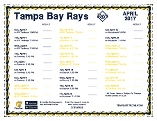 April 2017 Tampa Bay Rays Printable Schedule