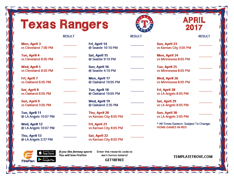 graphic about Rangers Printable Schedule identified as Printable 2017 Texas Rangers Program