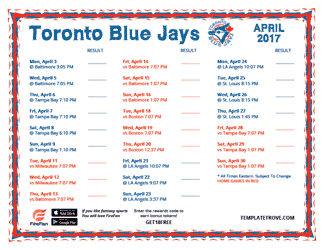 April 2017 Toronto Blue Jays Printable Schedule