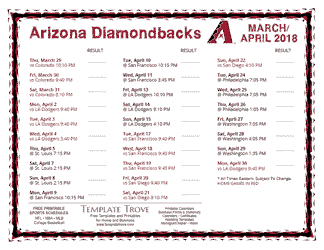 April 2018 Arizona Diamondbacks Printable Schedule