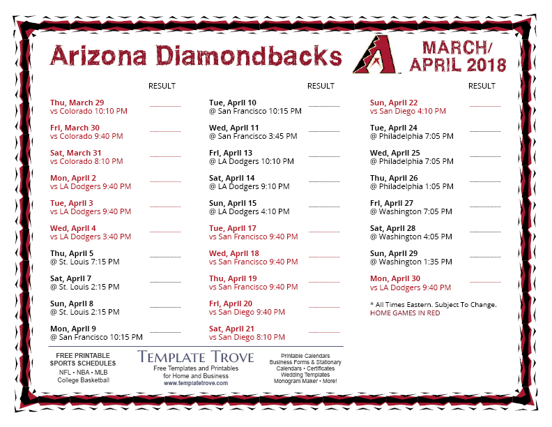 Vibrant image pertaining to diamondbacks schedule printable