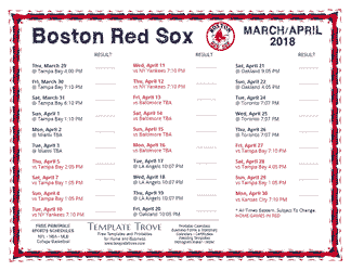 April 2018 Boston Red Sox Printable Schedule