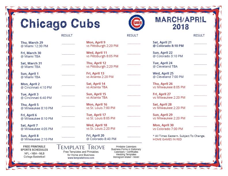 Chicago Cubs Schedule 2019 Printable Printable 2018 Chicago Cubs Schedule