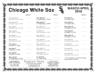 April 2018 Chicago White Sox Printable Schedule