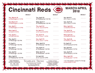 April 2018 Cincinnati Reds Printable Schedule
