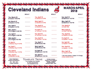 April 2018 Cleveland Indians Printable Schedule