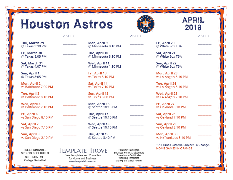 April Calendar Houston : Printable houston astros schedule
