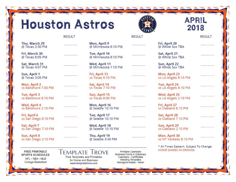 April Calendar Houston : Printable houston astros schedule