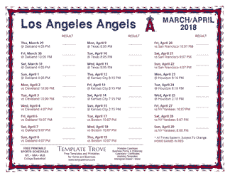 April 2018 Los Angeles Angels Printable Schedule
