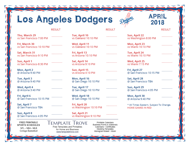 photograph relating to Dodger Schedule Printable called Printable 2018 Los Angeles Dodgers Agenda