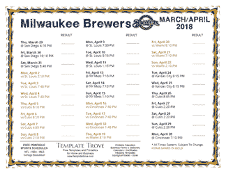 April 2018 Milwaukee Brewers Printable Schedule