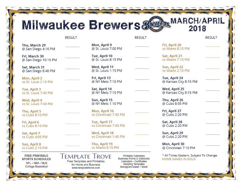 printable 2018 milwaukee brewers schedule