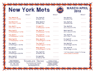April 2018 New York Mets Printable Schedule