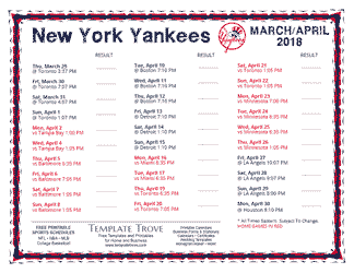 April 2018 New York Yankees Printable Schedule