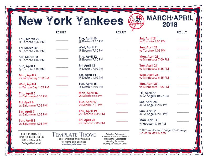Slobbery image regarding yankees printable schedule