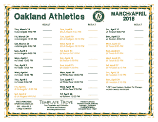 April 2018 Oakland Athletics Printable Schedule
