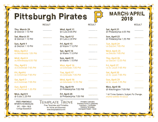 April 2018 Pittsburgh Pirates Printable Schedule