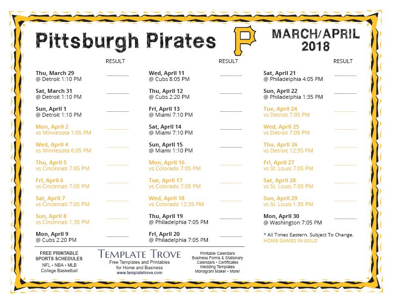 photograph regarding Pittsburgh Pirates Printable Schedule referred to as Printable 2018 Pittsburgh Pirates Agenda