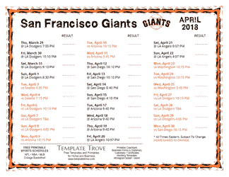 April 2018 San Francisco Giants Printable Schedule
