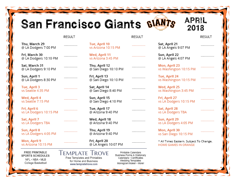 It is a photo of Accomplished Sf Giants Schedule Printable