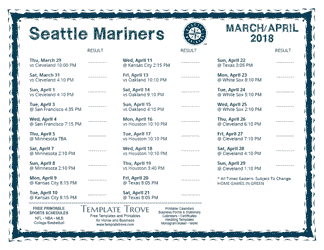 April 2018 Seattle Mariners Printable Schedule