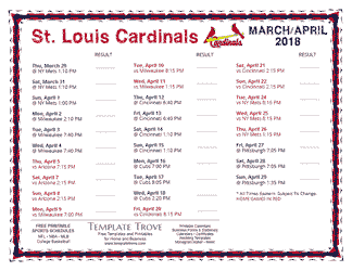 April 2018 St. Louis Cardinals Printable Schedule