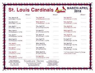 Printable 2018 st louis cardinals schedule - St louis cardinals downloadable schedule ...