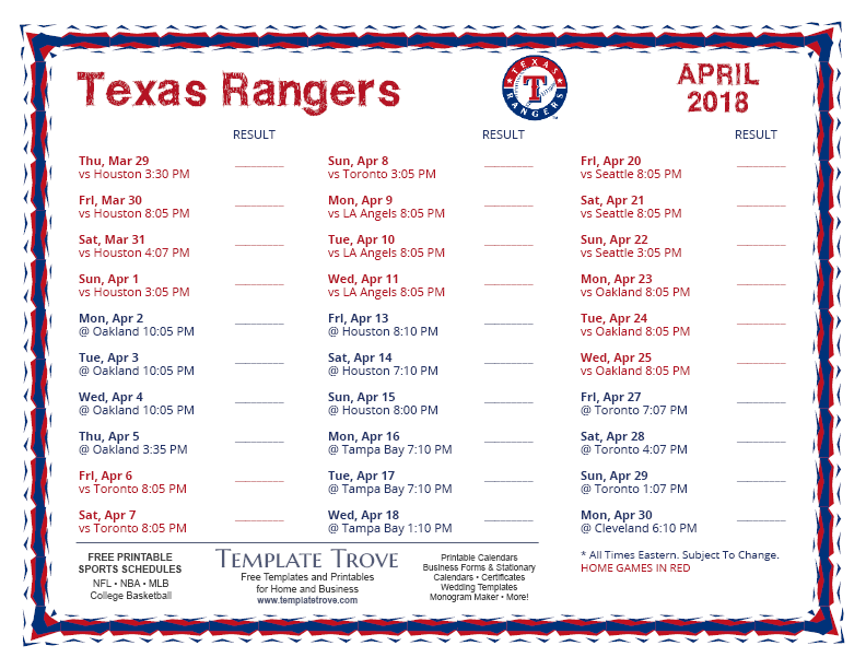 This is an image of Declarative Texas Rangers Schedule Printable