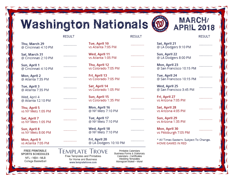 picture regarding Washington Nationals Printable Schedule named Printable 2018 Washington Nationals Plan