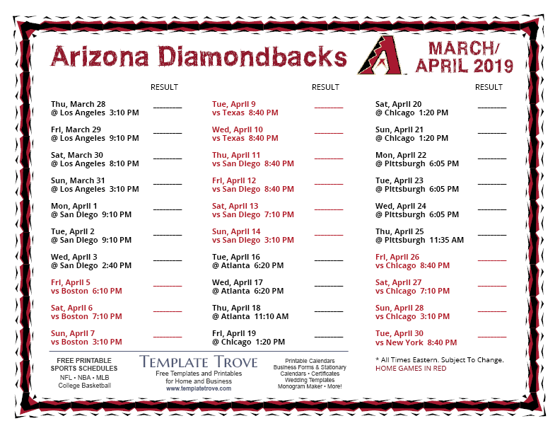 photo about Diamondbacks Schedule Printable named Printable 2019 Arizona Diamondbacks Routine