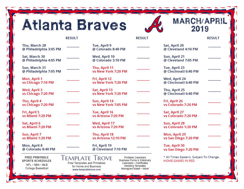 graphic about Braves Printable Schedule named Printable 2019 Atlanta Braves Agenda