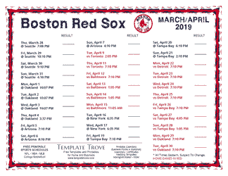 April 2019 Boston Red Sox Printable Schedule