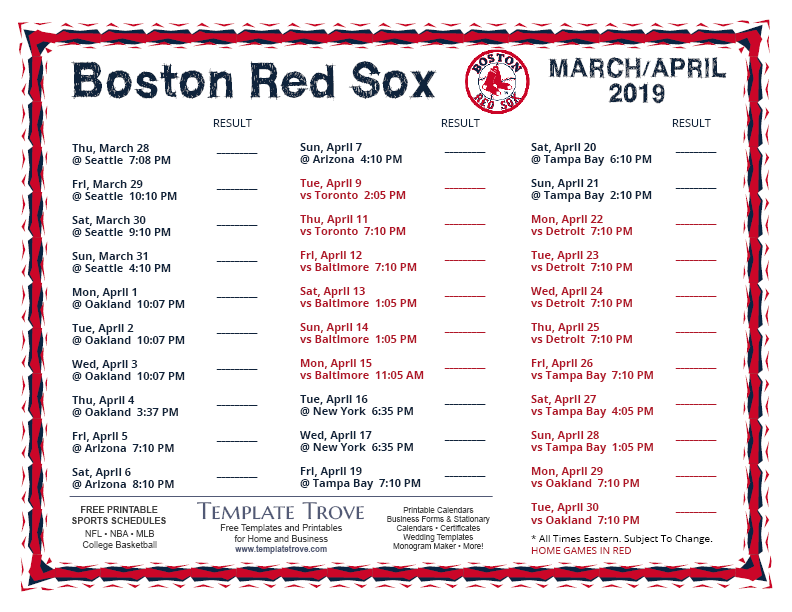 Ambitious image with red sox printable schedule