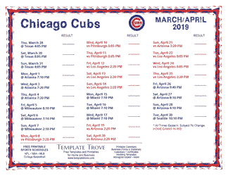 April 2019 Chicago Cubs Printable Schedule