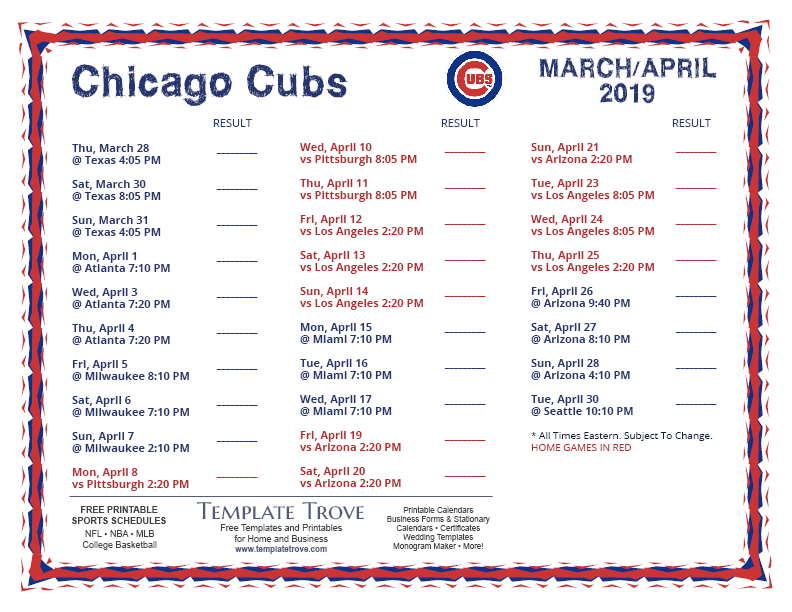 Printable 2019 Chicago Cubs Schedule