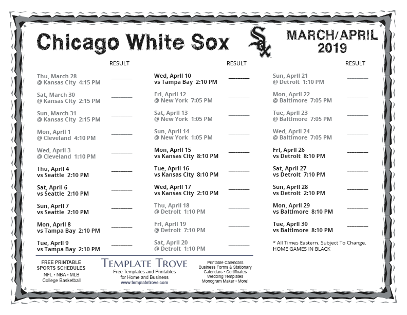 picture regarding White Sox Printable Schedule named Printable 2019 Chicago White Sox Routine
