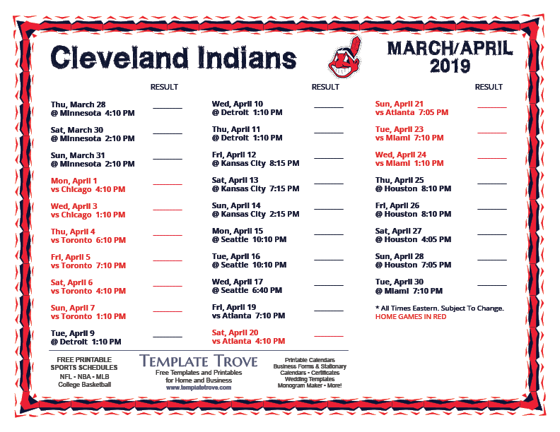 image about Indians Schedule Printable referred to as Printable 2019 Cleveland Indians Agenda