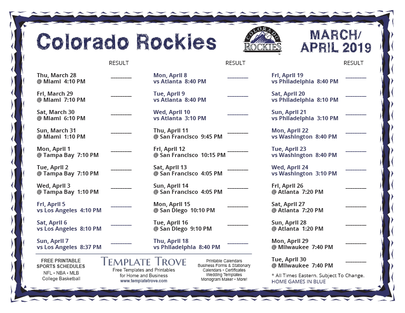 Rockies 2019 Schedule Printable 2019 Colorado Rockies Schedule