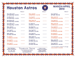 April 2019 Houston Astros Printable Schedule