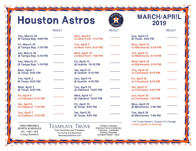 photograph regarding Houston Astros Printable Schedule referred to as Printable 2019 Houston Astros Routine