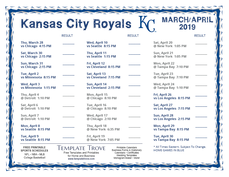 picture regarding Kc Royals Schedule Printable named Printable 2019 Kansas Town Royals Timetable