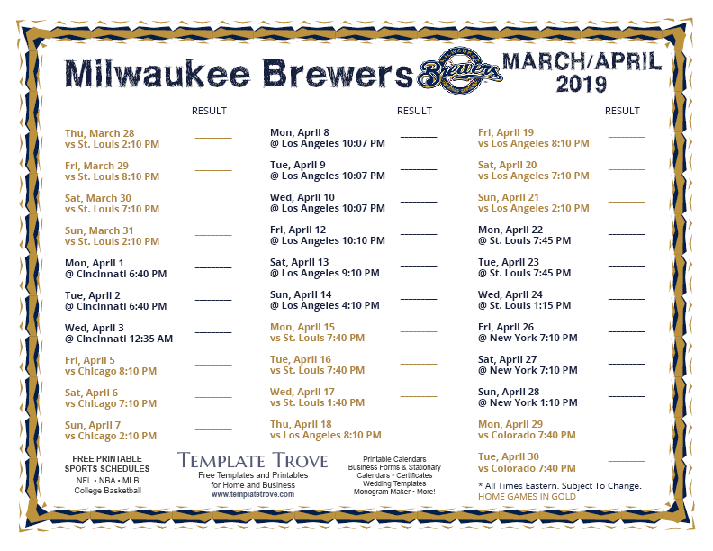 photo relating to Brewers Printable Schedule known as Printable 2019 Milwaukee Brewers Plan