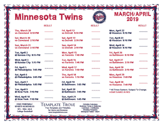 April 2019 Minnesota Twins Printable Schedule