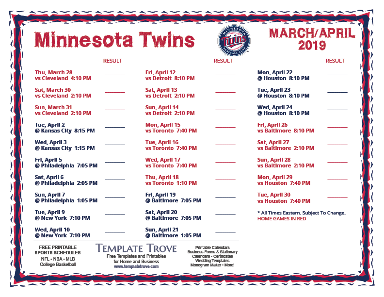 photograph relating to Printable Schedule named Printable 2019 Minnesota Twins Timetable