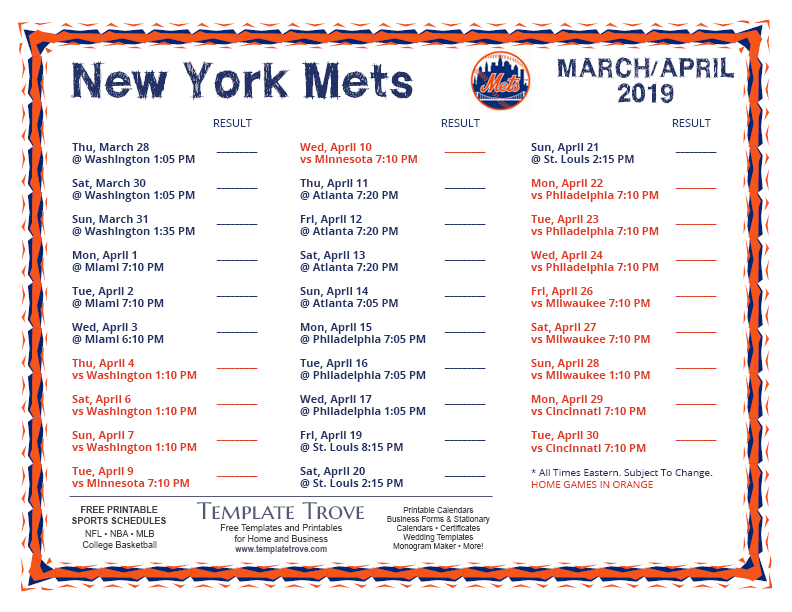 graphic about Printable Mets Schedule known as Printable 2019 Contemporary York Mets Timetable